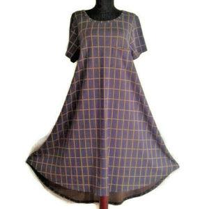 Lularoe Carly dress XL windowpane hi-low pocket